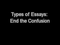 types of essays end the confusion On understanding data abstraction, revisited widespread confusion about the two forms of data abstrac-tion, abstract data types and objects this essay attempts to.