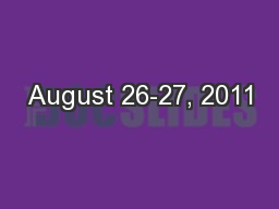 August 26-27, 2011