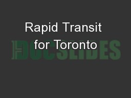 Rapid Transit for Toronto