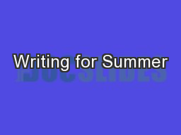 Writing for Summer