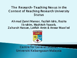 The Research-Teaching Nexus in the Context of Reaching Rese