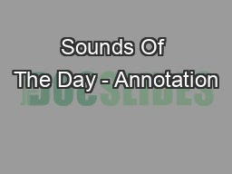 Sounds Of The Day - Annotation