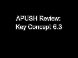 APUSH Review: Key Concept 6.3