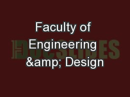 Faculty of Engineering & Design