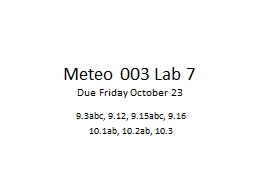 Meteo 003 Lab 7 PowerPoint PPT Presentation
