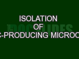 ISOLATION OF ANTIBIOTIC-PRODUCING MICROORGANISMS