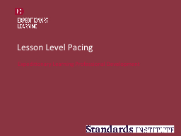 Lesson Level Pacing