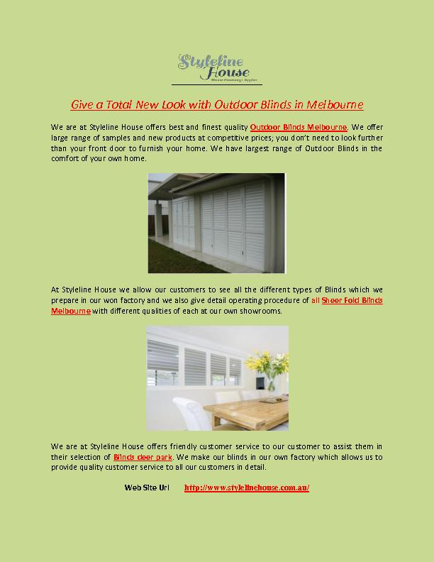 Give a Total New Look with Outdoor Blinds in Melbourne