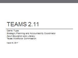 TEAMS 2.11 PowerPoint PPT Presentation