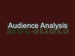 Audience Analysis