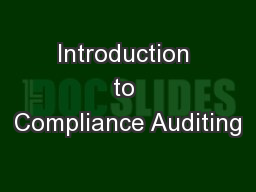 Introduction to Compliance Auditing