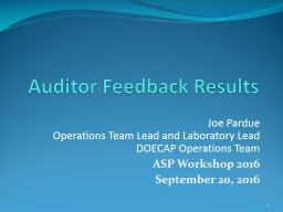 Auditor Feedback Results PowerPoint PPT Presentation