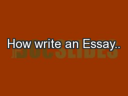 How write an Essay..