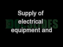 Supply of electrical equipment and