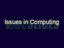 Issues in Computing