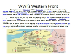 WWI's Western Front
