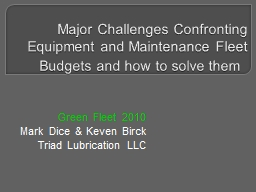 Major Challenges Confronting Equipment and Maintenance Flee
