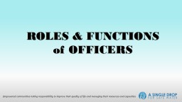 ROLES & FUNCTIONS