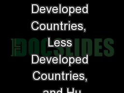 More Developed Countries,  Less Developed Countries, and Hu