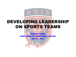 DEVELOPING LEADERSHIP ON SPORTS TEAMS