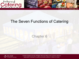 The Seven Functions of Catering PowerPoint PPT Presentation