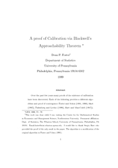 A proof of Calibration via Blackwells Approachability