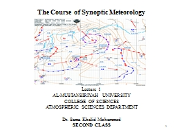 The Course of Synoptic Meteorology