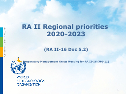 RA II Regional priorities 2020-2023