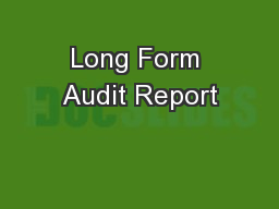 Long Form Audit Report PowerPoint PPT Presentation