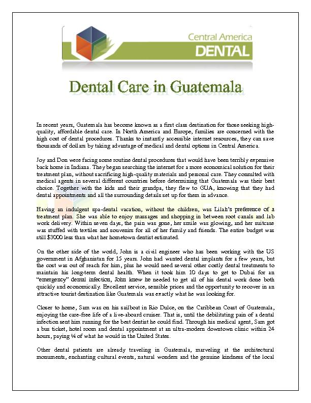 Dental Care in Guatemala PowerPoint PPT Presentation