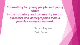 Counselling for young people and young adults