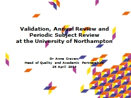 Validation, Annual Review and Periodic Subject Review