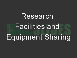 Research Facilities and Equipment Sharing PowerPoint PPT Presentation