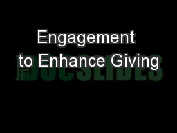Engagement to Enhance Giving