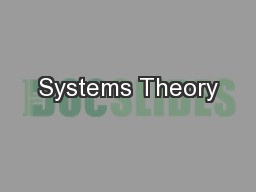 Systems Theory PowerPoint PPT Presentation