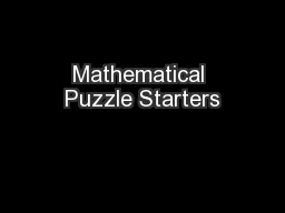 Mathematical Puzzle Starters