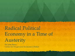 Radical Political Economy in a Time of Austerity