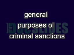 general purposes of criminal sanctions