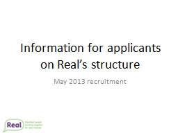Information for applicants on Real's structure