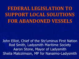 FEDERAL LEGISLATION TO SUPPORT LOCAL SOLUTIONS