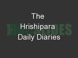 The Hrishipara Daily Diaries PowerPoint PPT Presentation
