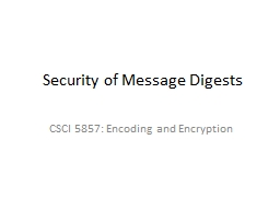 Security of Message Digests