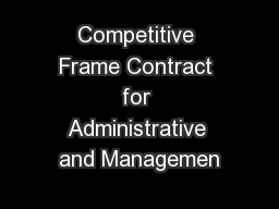 Competitive Frame Contract for Administrative and Managemen