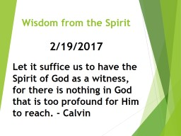 Wisdom from the Spirit
