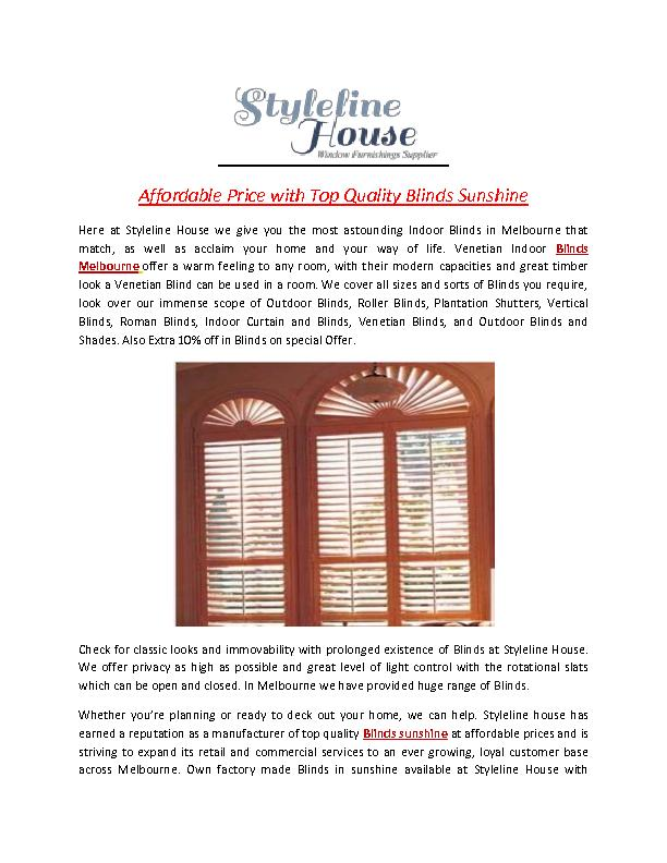 Affordable Price with Top Quality Blinds Sunshine