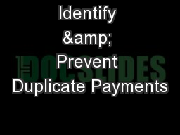 Identify & Prevent Duplicate Payments