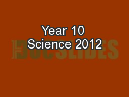 Year 10 Science 2012