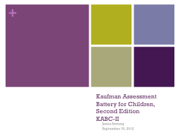 Kaufman Assessment Battery for Children, Second Edition