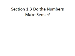 Section 1.3 Do the Numbers Make Sense?