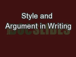 Style and Argument in Writing